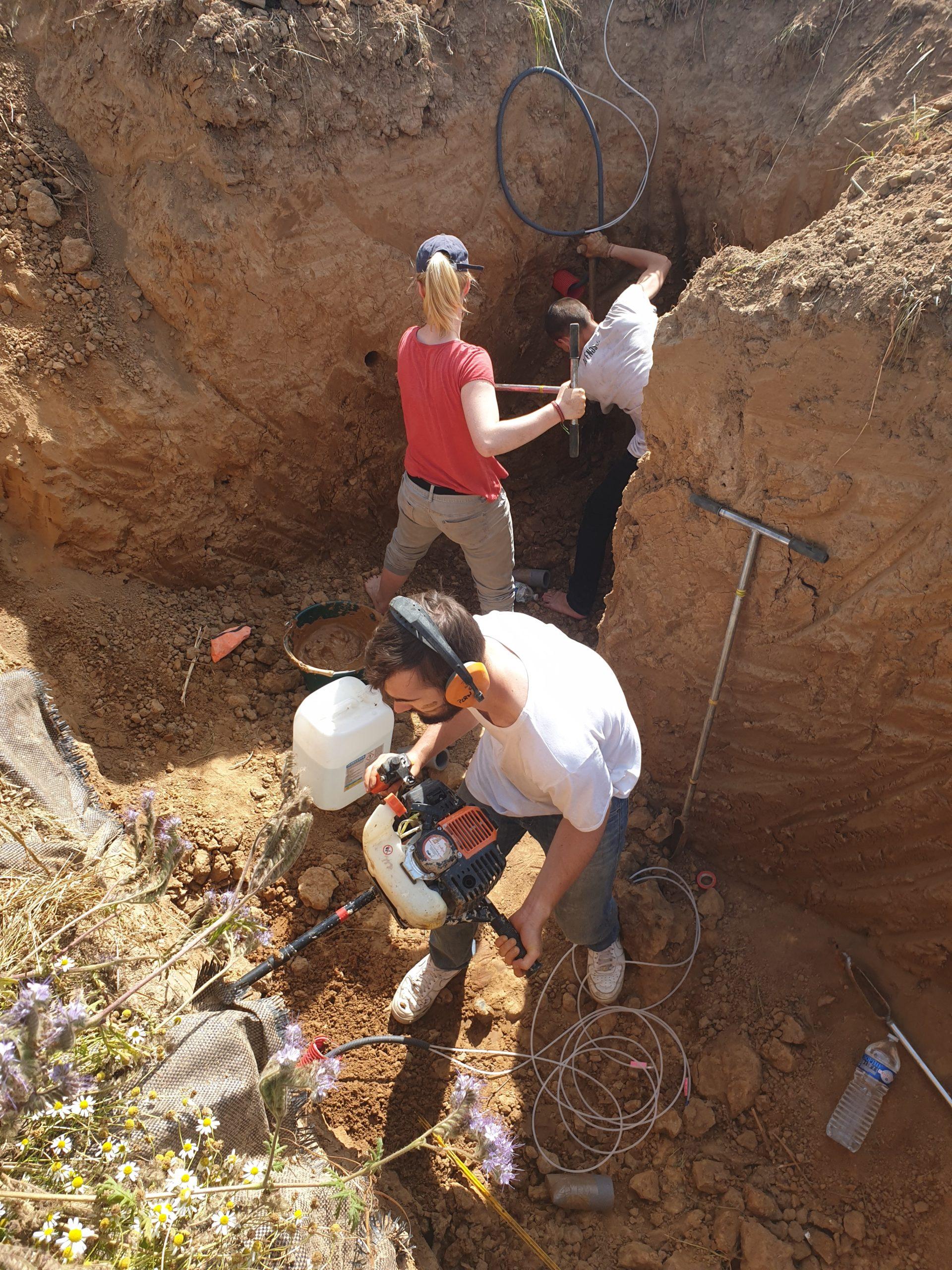 Installation des sondes dans le sol